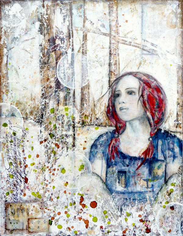 "Laly Mille, ""Refuge"" mixed media painting"