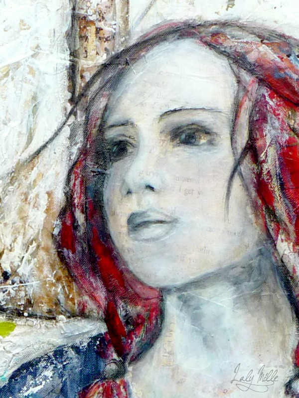 Laly Mille. Refuge, mixed media on canvas