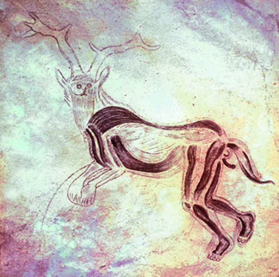 Shaman cave painting