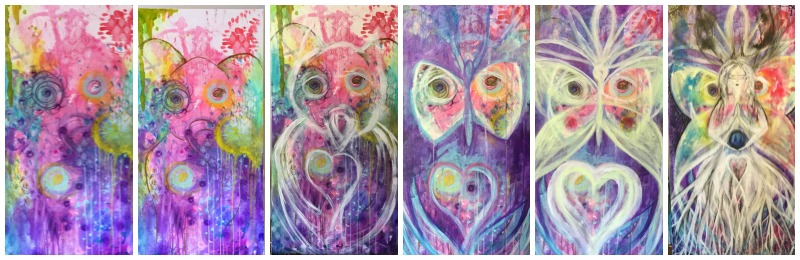 Animal guides that have shown up on the canvas! Elephant, Owl, Butterfly and... Bear (can you see it?)