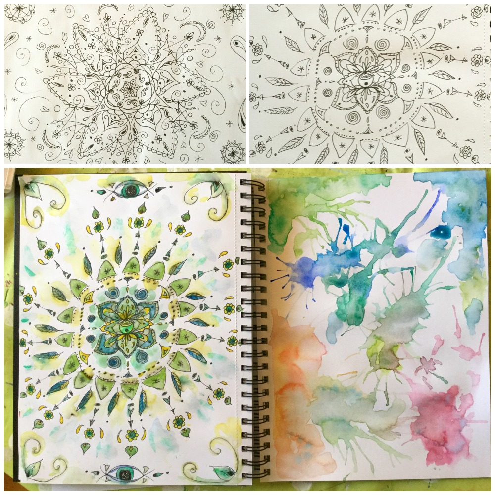 Mandalas and painting meditation with straw blowing