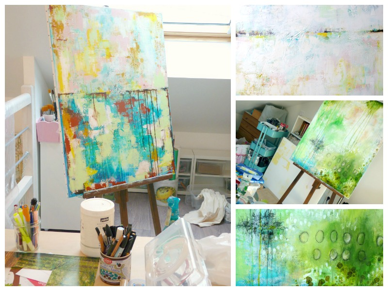 Flow 1 in progress in my old studio, with a look at the underlayers: you can see at first it wasn't at all about flow-ers... © 2015 Laly Mille