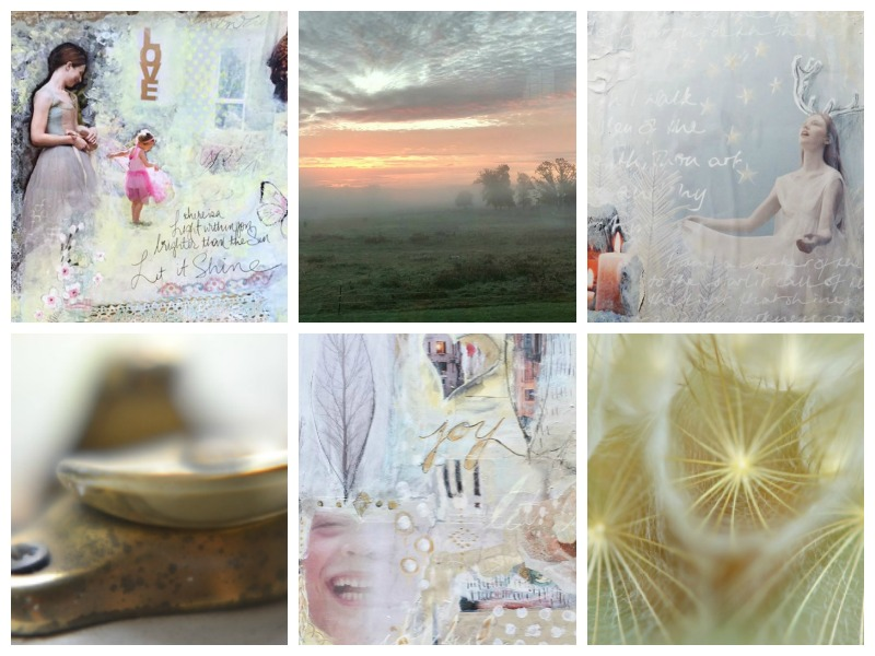 """Student art from Lesson 1 """"Your natural Light"""": Soul Boards and photos by (from top left): D Loren Prince, Nancy Lennon, Kate Steuart Fothringham, Denise Kozikowski, Sherri McCulloch and Petra Hrziwnatzki"""