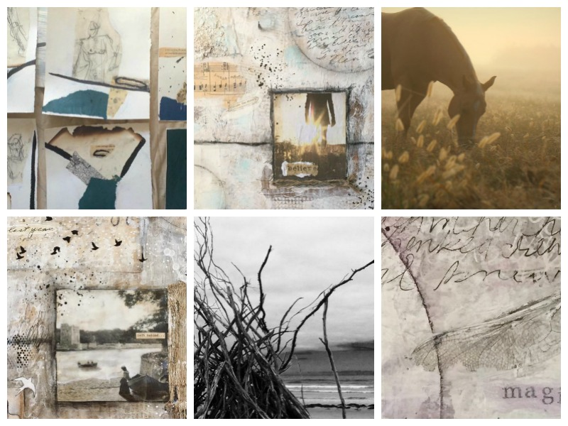 """Student art from Lesson 2 """"Embracing Contrast"""": 2 minutes collage, photography and mixed media paintings by (from top left): Rana Wilson, Kathy Mc Gowan, Wind Gypsy, Ivy Newport, Chris Burton and D Loren Prince."""