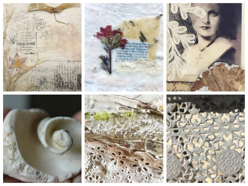 """Student art from Lesson 3 """"Catching Light with Texture"""": Encaustic art and photography by (from top left): Freya Perry, Carol Macdonald, Janet Reid, Denise Kozikowski, Géraldine Deleuze and Sophie Kerdellant."""