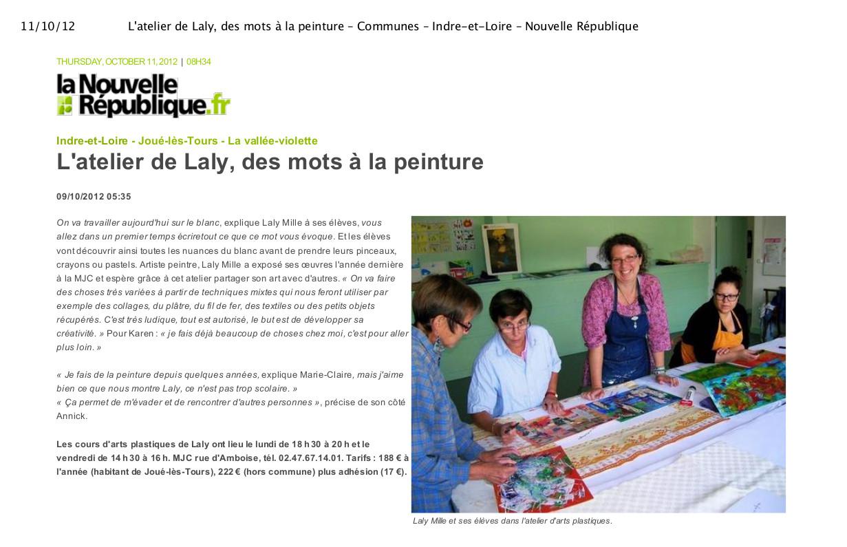 Atelier MJC Jouè les Tours Laly Mille