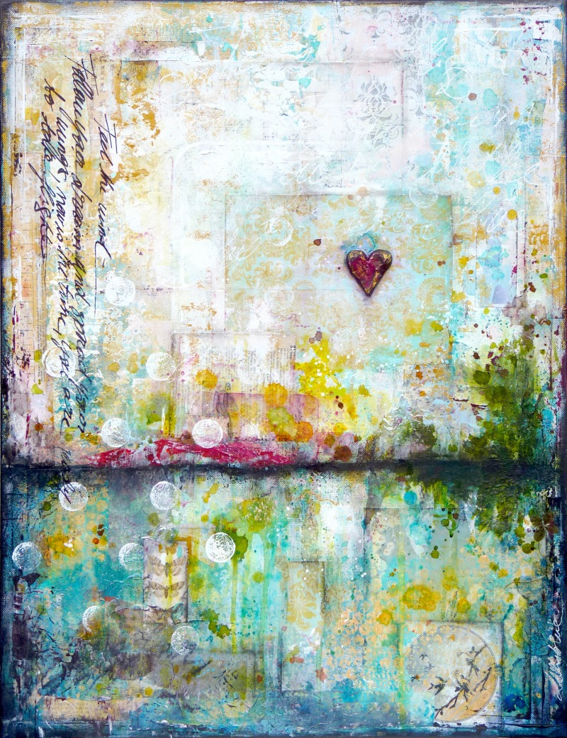 Taking flight : mixed media painting by Laly Mille