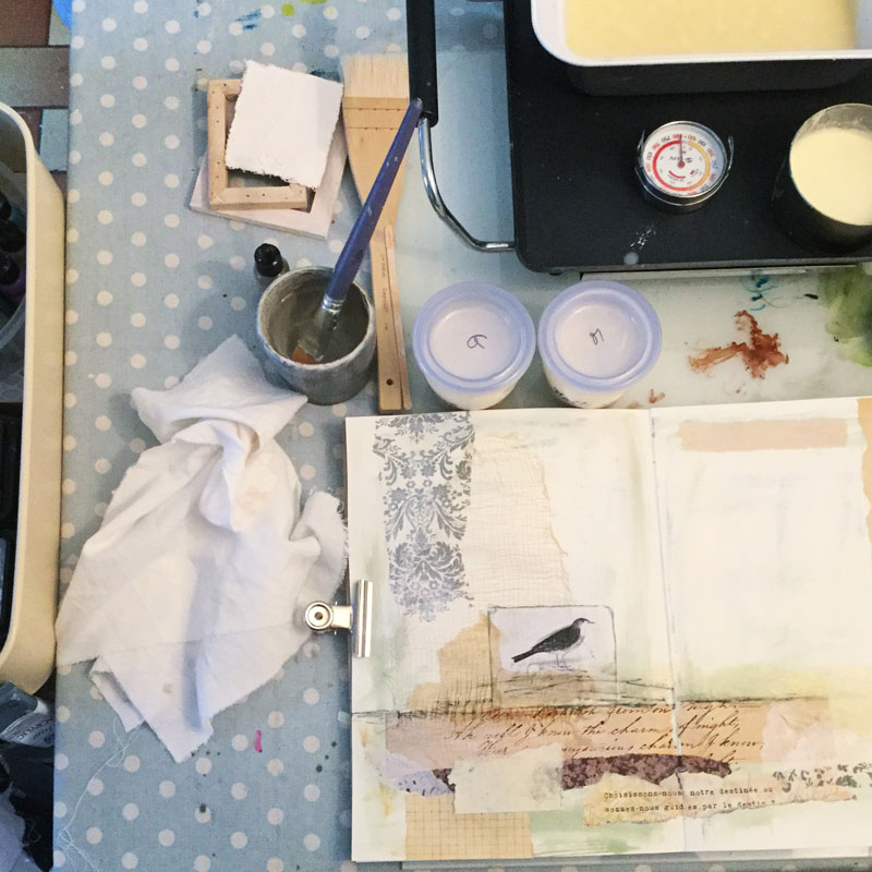 A few days before I had just finished creating my very first Little Book of Whispers (you can see it  HERE ) which is why I still had my encaustic supplies on the table.