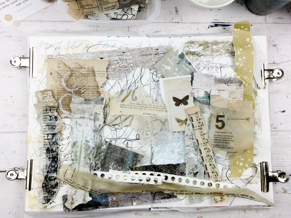 Laly Mille. Intuitive composition with collage. From The Artist & the Journal online class