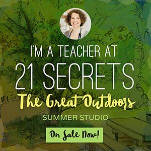 The Poetic Botanist art journaling lesson by Laly Mille in 21 SECRETS summer studio The Great Outdoors