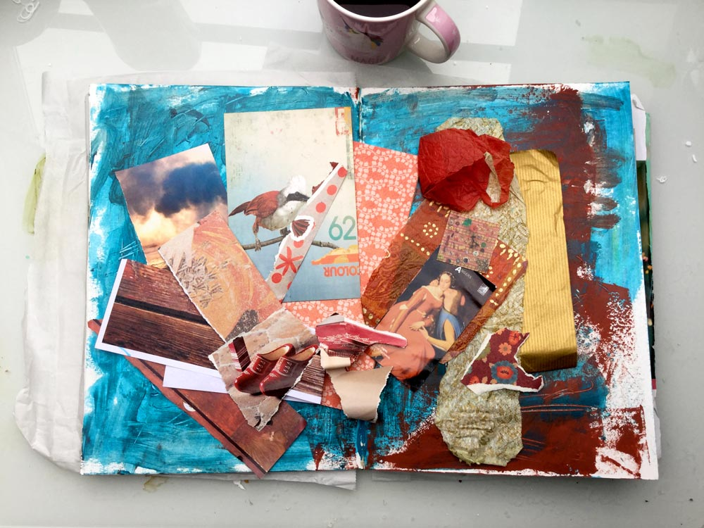 """The Whole Story"" Art Journal Page in progress - Laly Mille. Gathering materials"