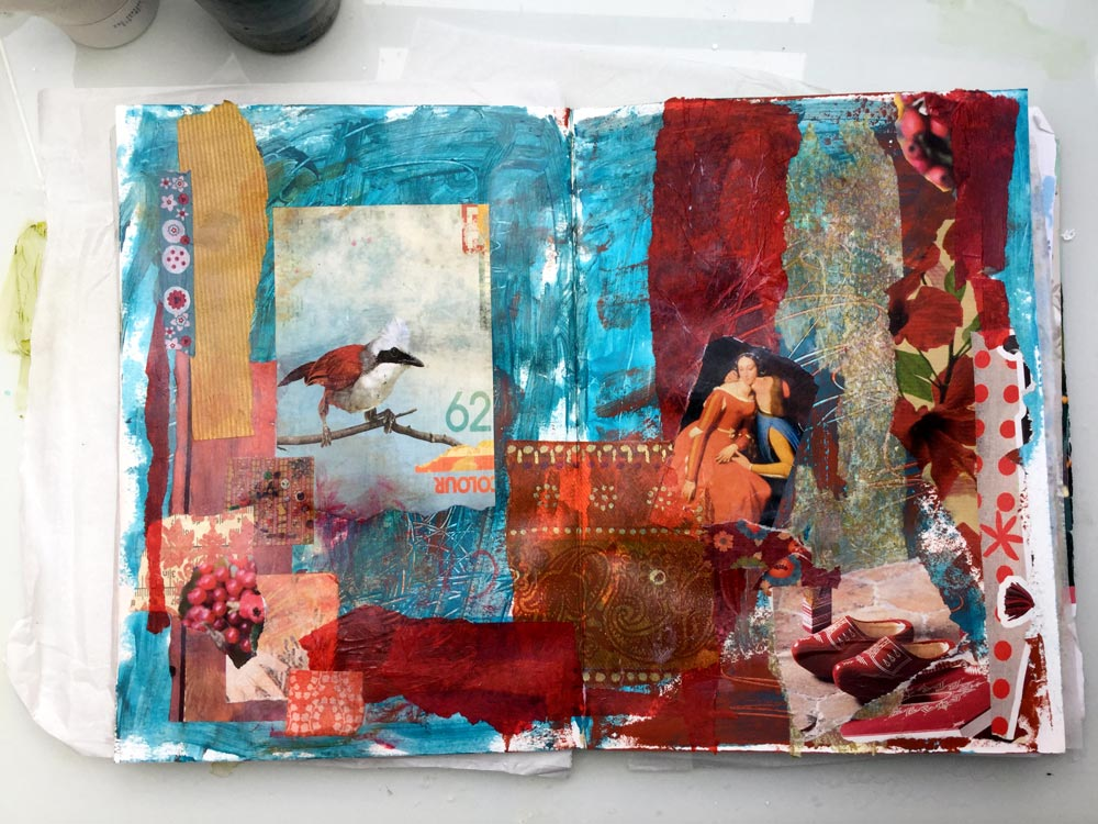 """The Whole Story"" Art Journal Page in progress - Laly Mille. Third Layer: Imagery"