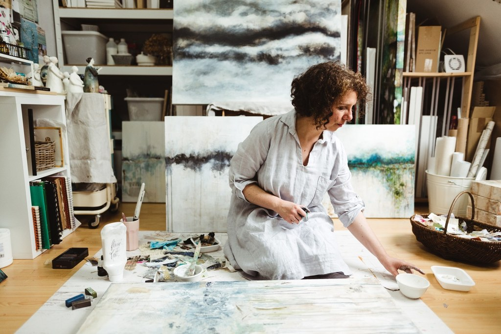 Laly Mille Painting Abstract Landscapes in her Studio