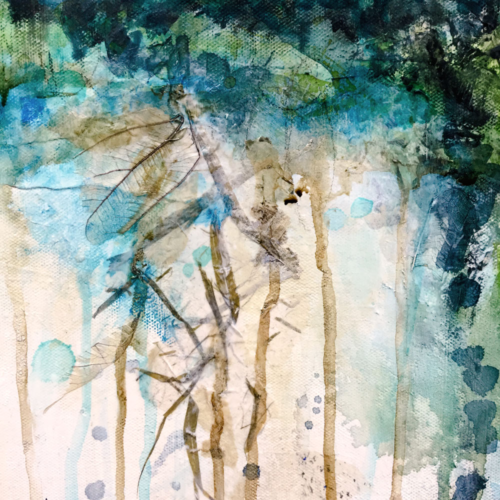 "Underlayers from ""Riverside"" abstract landscape by Laly Mille"