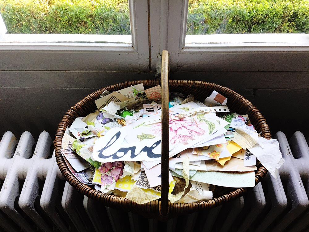 My big basket of paper scraps, always on display and ready to play!