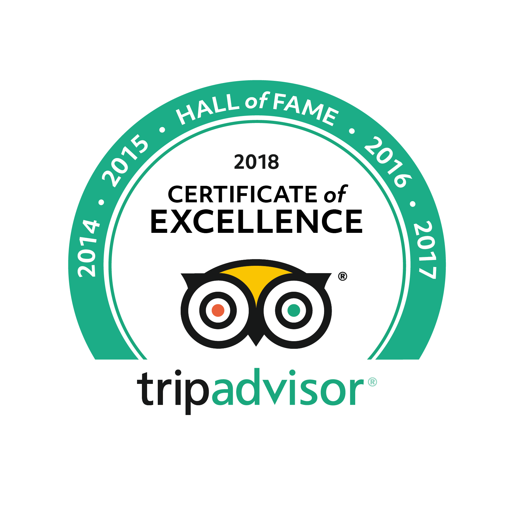 Certificate of Excellence: Hall of Fame - Awarded for 5 consecutive years of excellent service to our guests! Here's to another 5 years and more!