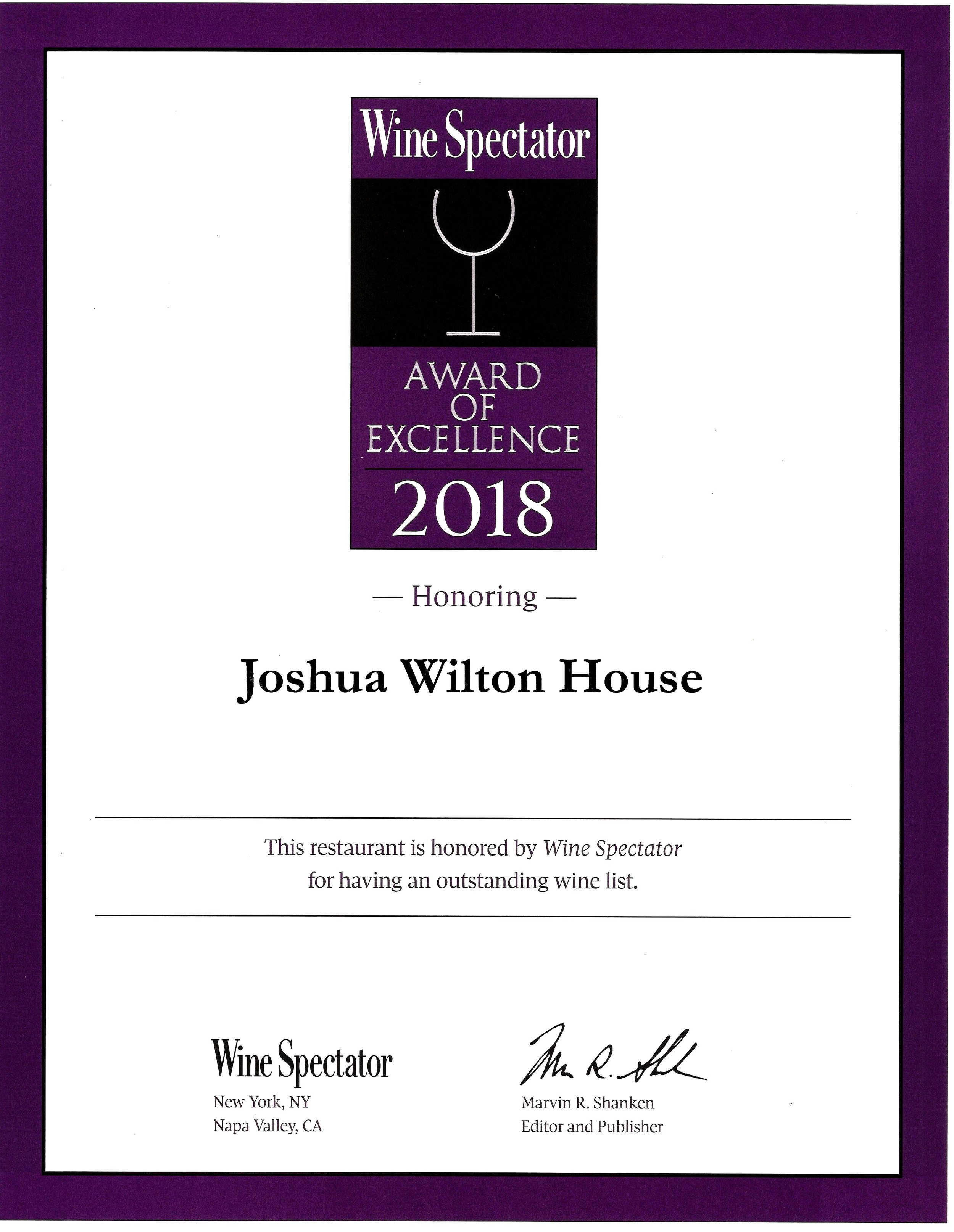 WINE SPECTATOR AWARD - Award of Excellence2,453 winners These wine lists, which typically offer at least 90 selections, feature a well-chosen assortment of quality producers, along with a thematic match to the menu in both price and style. Whether compact or extensive, focused or diverse, these lists deliver sufficient choice to satisfy discerning wine lovers