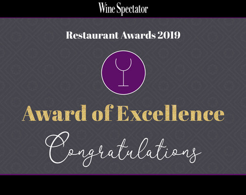 Wine Spectator: Award of Excellence - Our second year winning Wine Spectator's Award of Excellence!