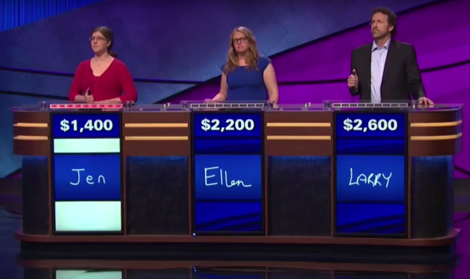Larry Coben, far left, competing on Jeopardy!