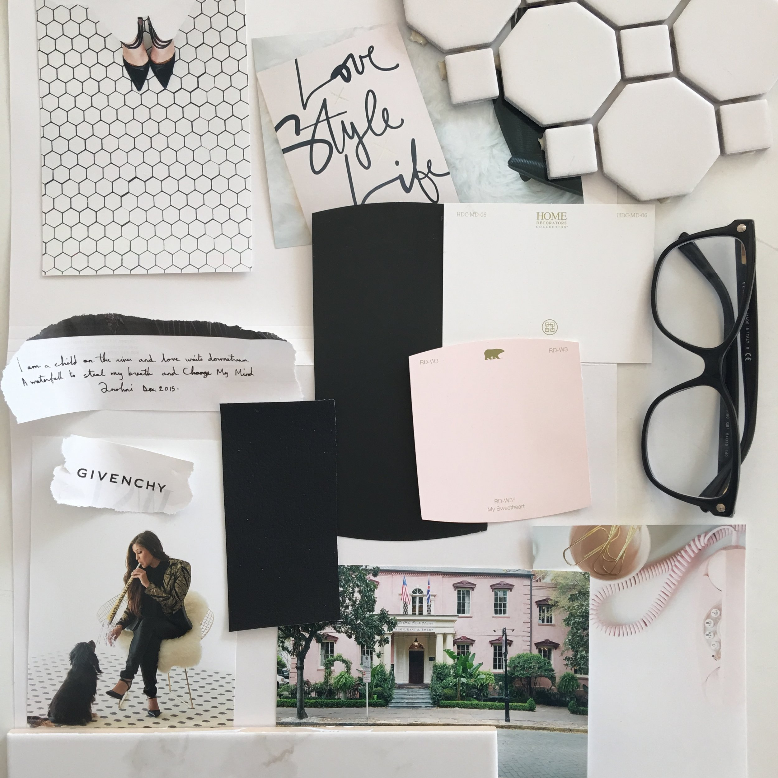 This moodboard was created by Bri Ramos when starting The Buzz Brand