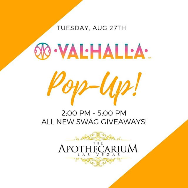 """We'll be hanging out with @apothecarium_lv tomorrow, August 27th from 2PM - 5PM. Come say """"Hello!"""" ————————————— #ValhallaConfections #ValhallaEdibles #CannabisCommunity #PopUpEvent Keep out of reach of children. For use only by adults 21 years of age and older."""