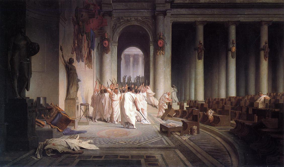 "Jean-LéonGérôme, ""The Death of Caesar"" (1859-1867). Image credit:  The Walters Art Museum ."