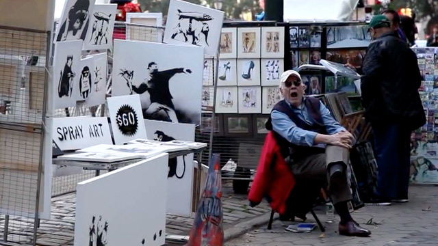 "Banksy's ""Spray Art"" pop-up in Central Park. Image credit:  The Guardian ."