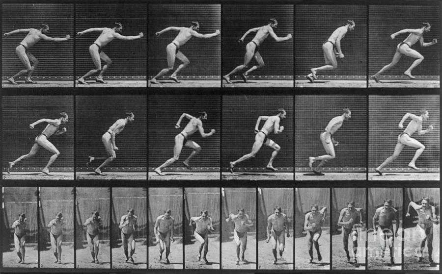 "Eadweard Muybridge, ""Locomotion: Man Running,"" 1887. Image credit:  Fine Art America ."