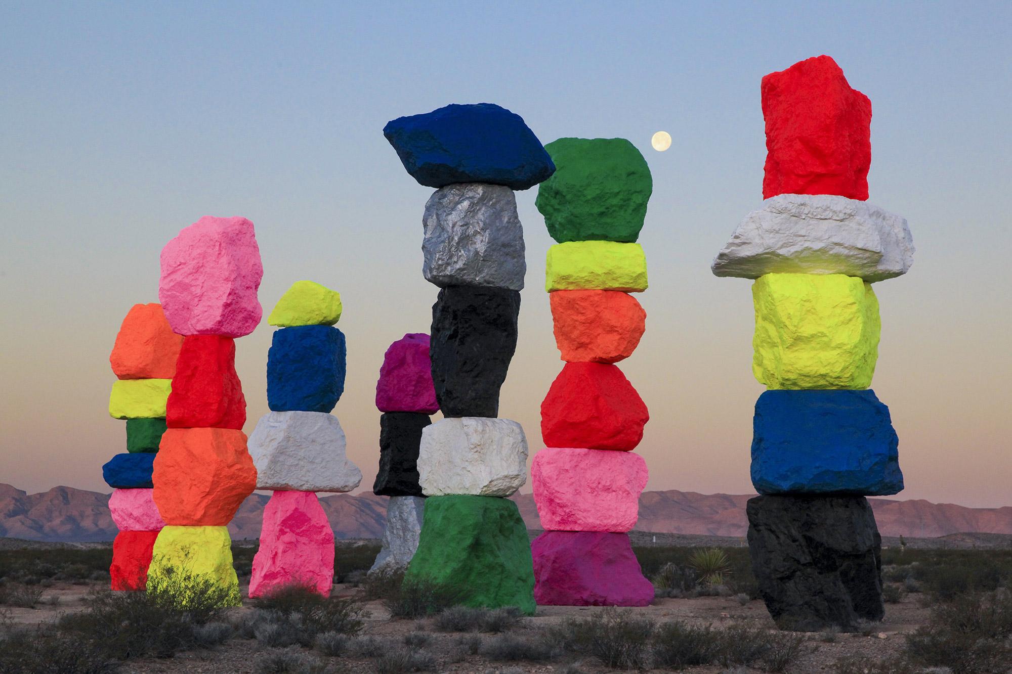 "Ugo Rondinone, ""Seven Magic Mountains,"" 2011-16. Image credit:  Gessato ."