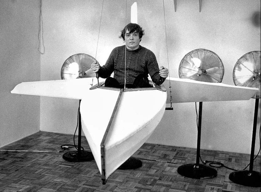 "Chris Burden, ""The Flying Kayak,"" 1982. Image credit:  Blouin ArtInfo ."