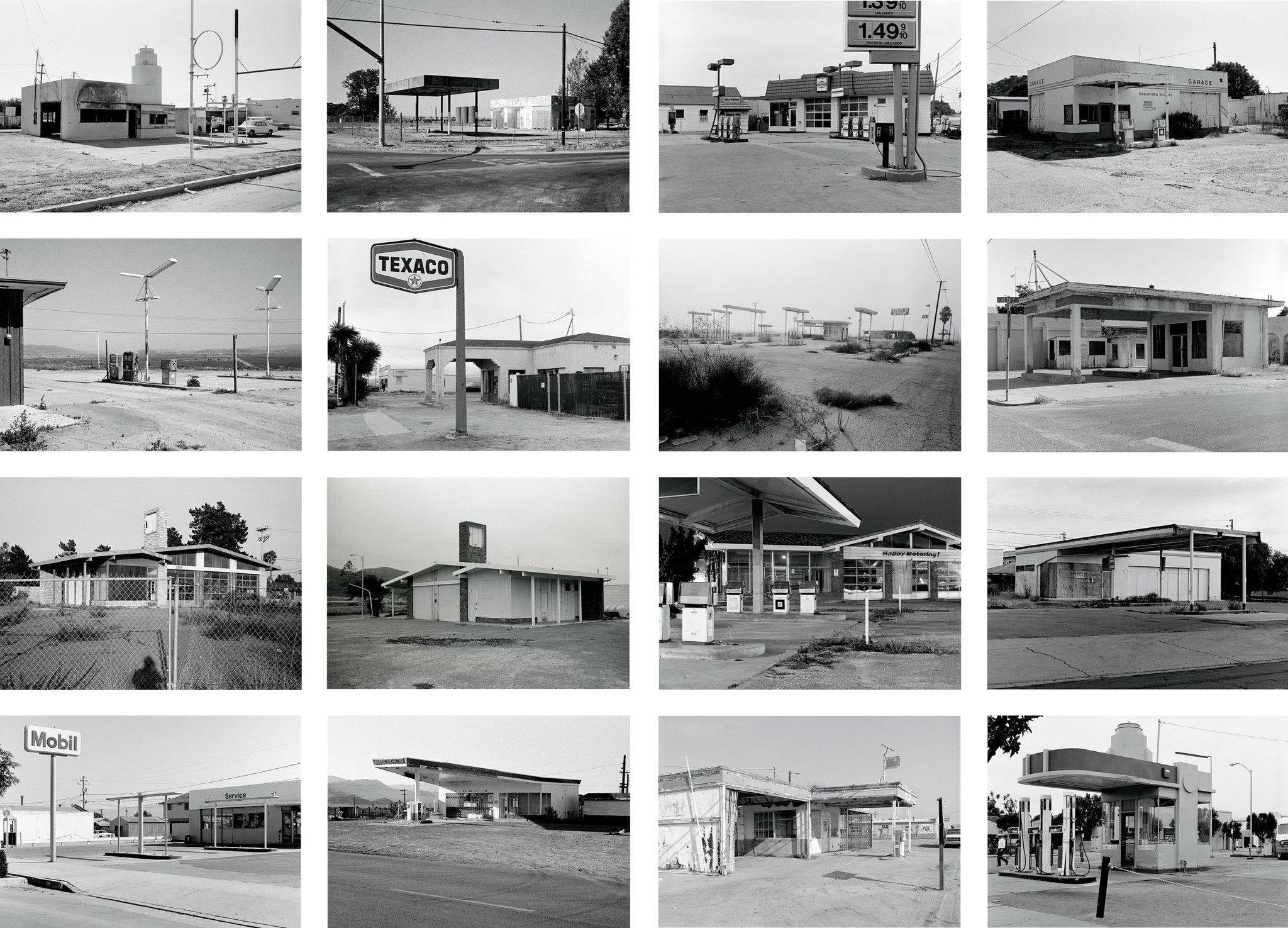 "Ed Ruscha, examples from ""Twentysix Gasoline Stations,"" 1963. Image credit:  Maite Muñoz ."