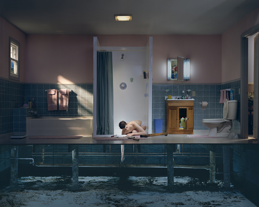 "Gregory Crewdson, ""Untitled (boy with hand in drain),"" from ""Twilight,"" 2001-2. Image credit:  The Albright-Knox Art Gallery ."