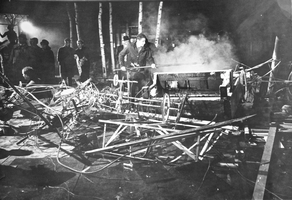 "Jean Tinguely in the aftermath of ""Homage to New York,"" 1960. Image credit:  Rudy Godinez ."