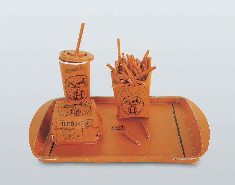 "Tom Sachs, ""Hermés Value Meal,"" 1997. Image credit:  The artist ."