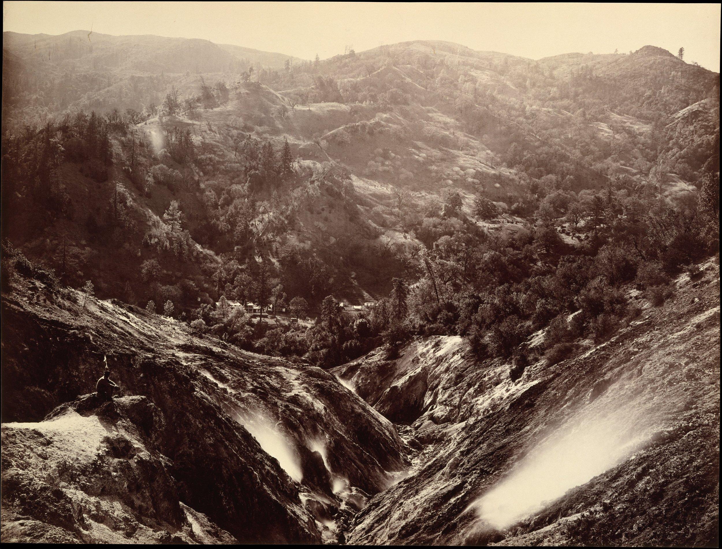 Carleton Watkins, Devil's Canyon, Geysers, Looking Down , 1868-70. Image credit: The Metropolitan Museum of Art, Rogers Fund, 1989 .