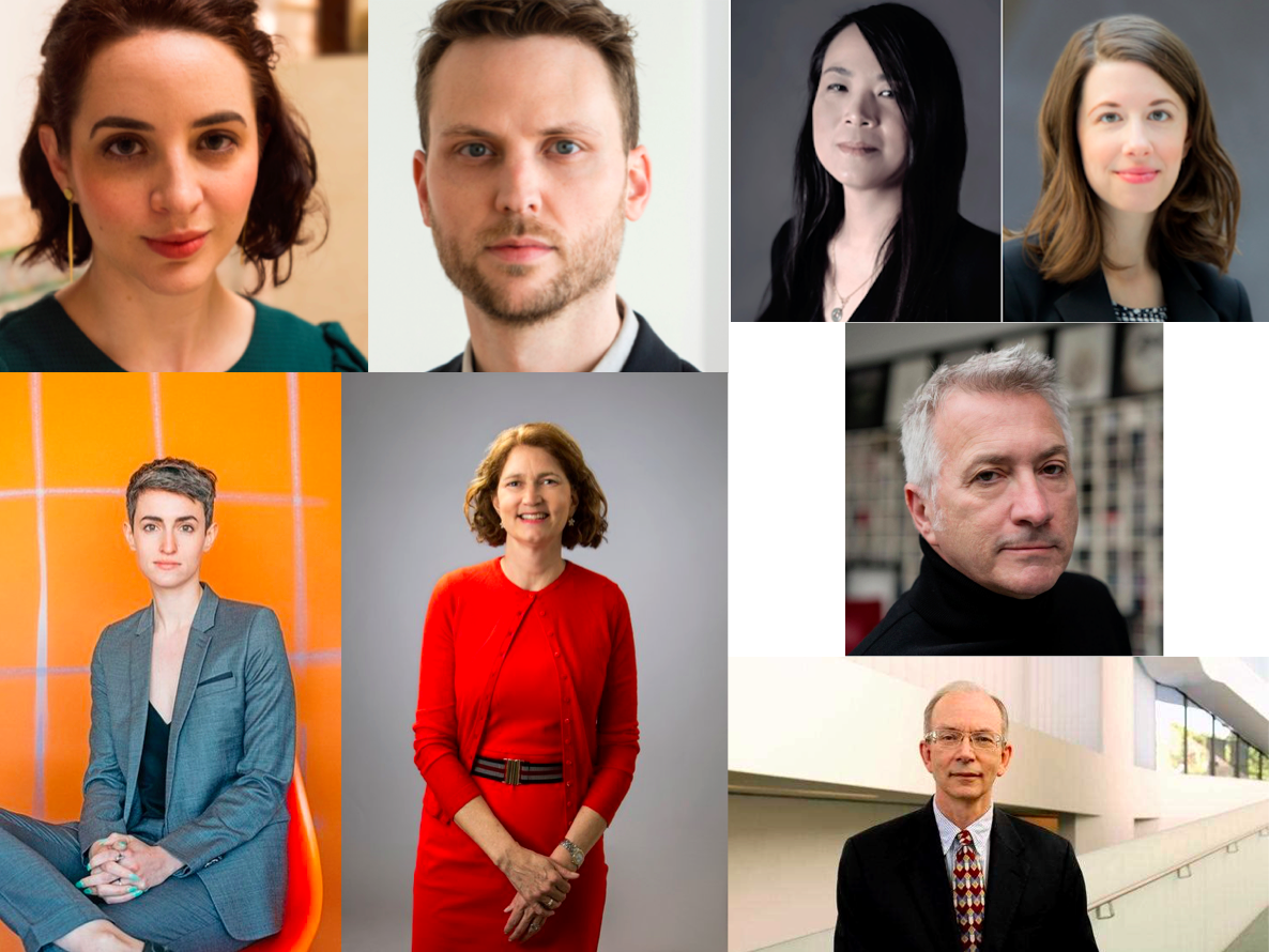 Major arts nonprofit hires made during the week of March 26, 2018. Clockwise from upper left: Kristen Windmuller-Luna, Drew Sawyer, Irene Mei Zhi Shum, Natalie Dupêcher, Christopher Scoates, Colin C. MacKenzie, Stephanie Wiles, and Justine Ludwig.