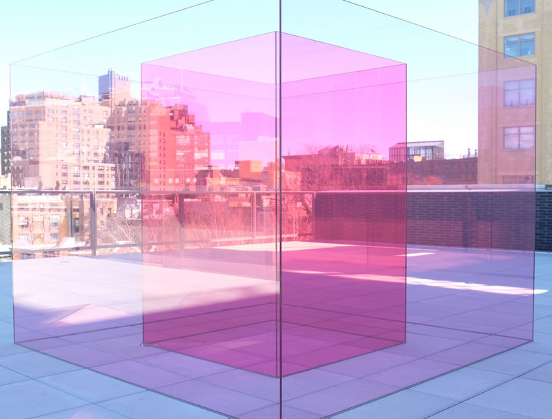 Larry Bell, Pacific Red II, installed at the 2017 Whitney Biennial. Image courtesy of Flickr user Peter Burka.