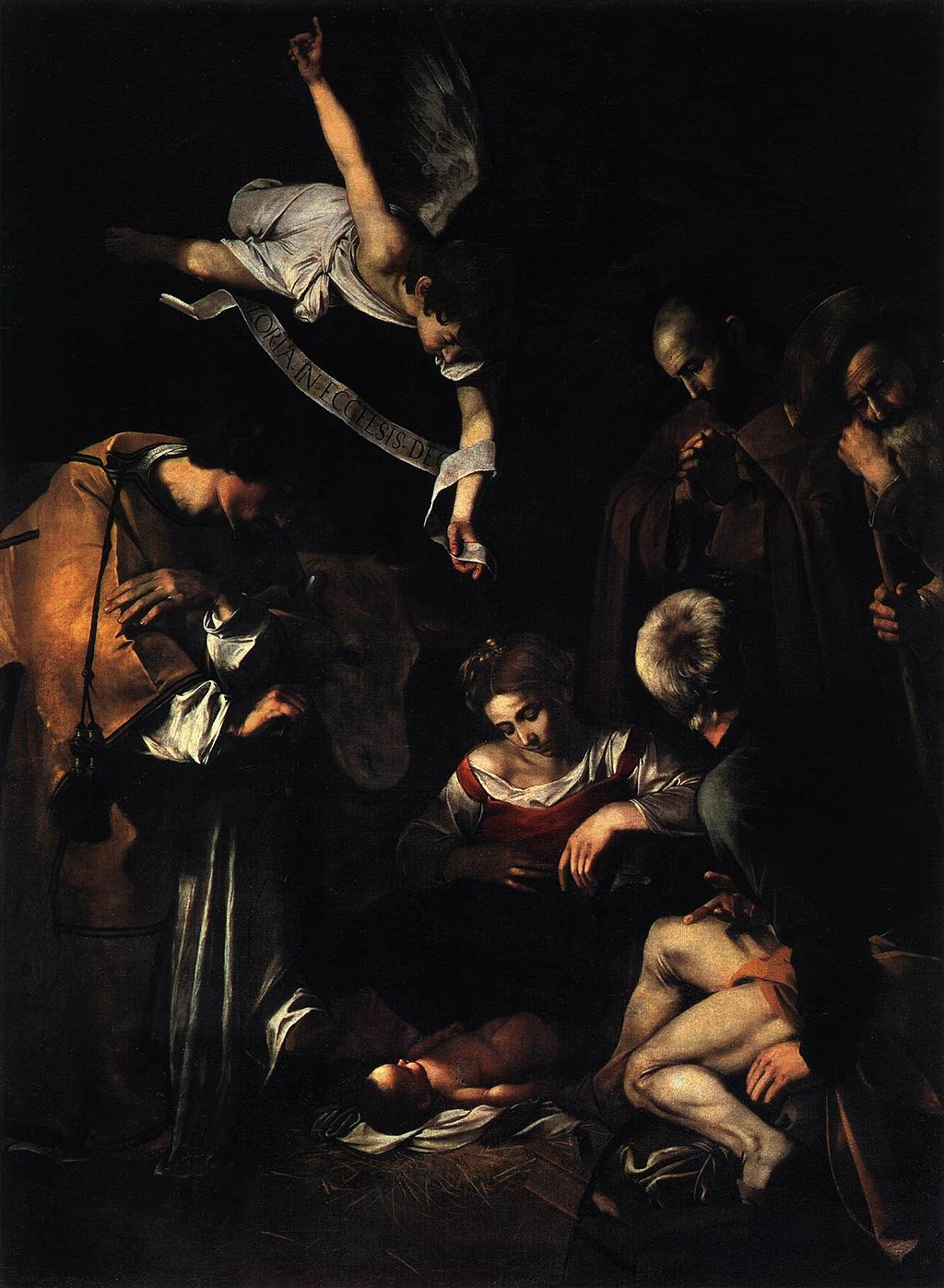 Michelangelo Merisi da Caravaggio, Nativity with St. Francis and St. Lawrence, 1609. Image courtesy of  Wikimedia Commons .