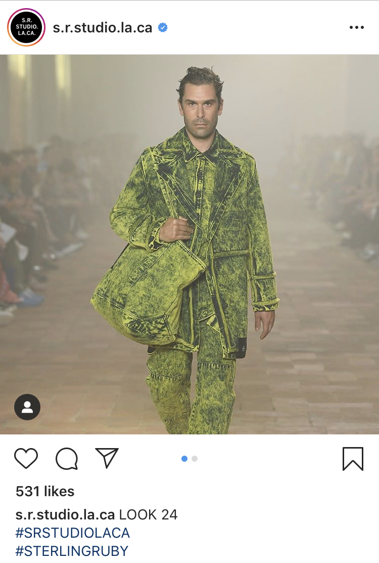 A look featured in the inaugural collection of Sterling Ruby's fashion label, S.R. Studio LA. CA., at Pitti Uomo in June 2019. Courtesy of  S.R. Studio LA. CA.'s Instagram .