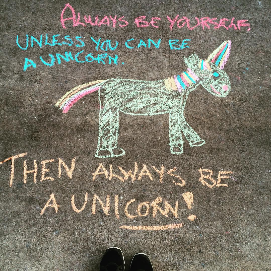 Sidewalk notes from the universe #lookdown #unicorn