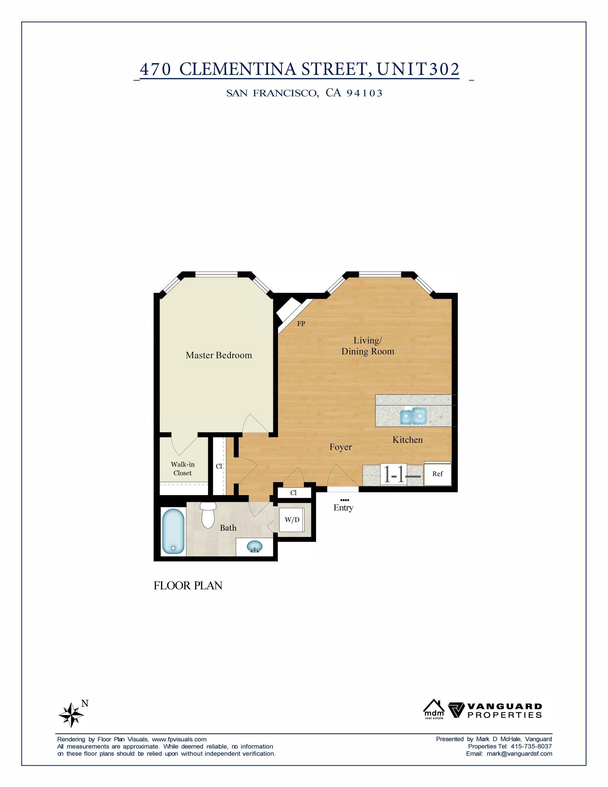 470 Clementina, Unit 302, San Francisco  Floor Plan