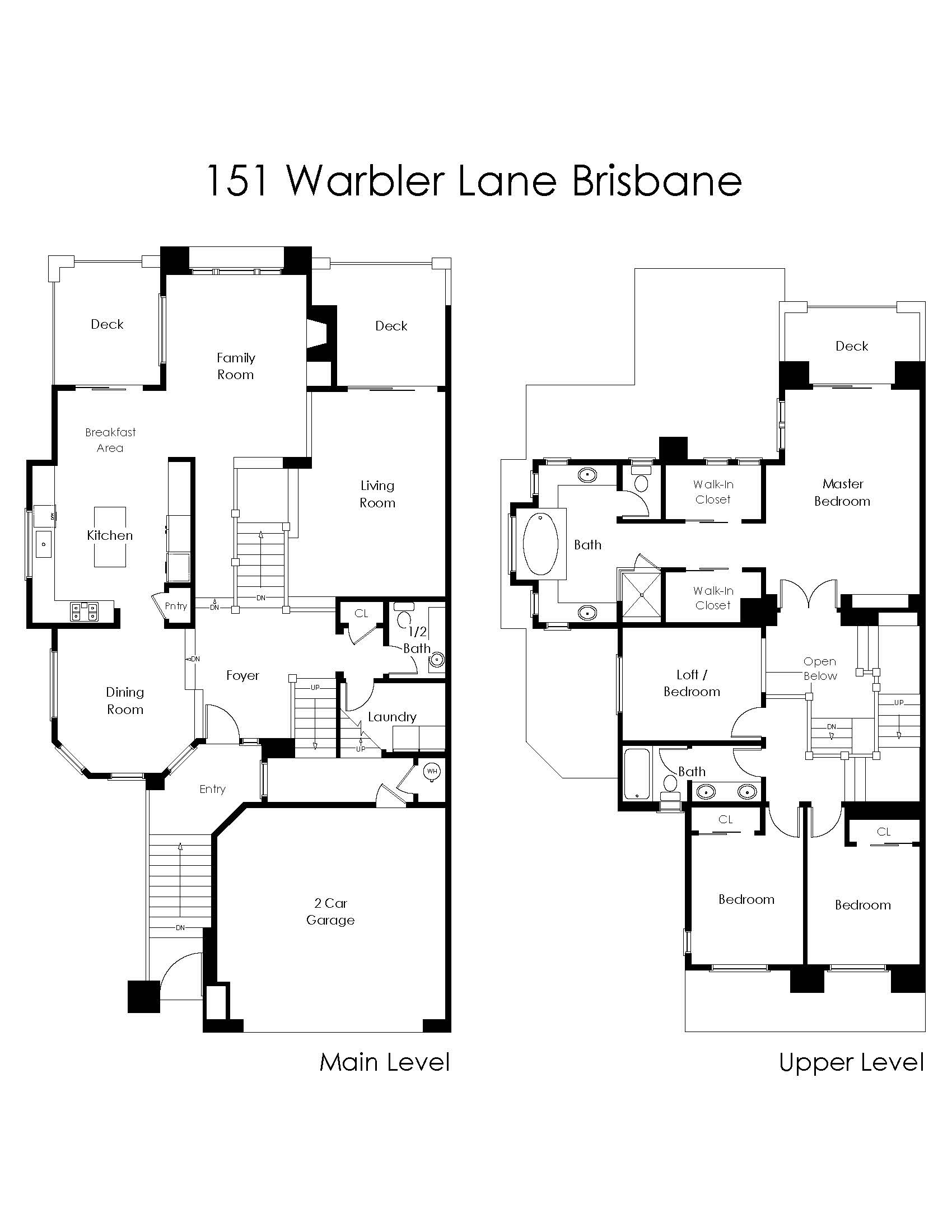 Floor Plan for 151 Warbler Lane, Brisbane.