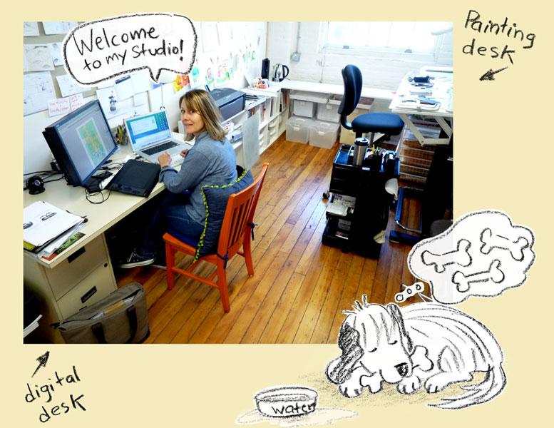 Emilie Working at the Digital Desk