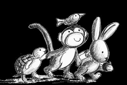 Turtle Monkey and Rabbit Illustration