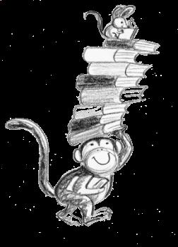Monkey with Books Illustration