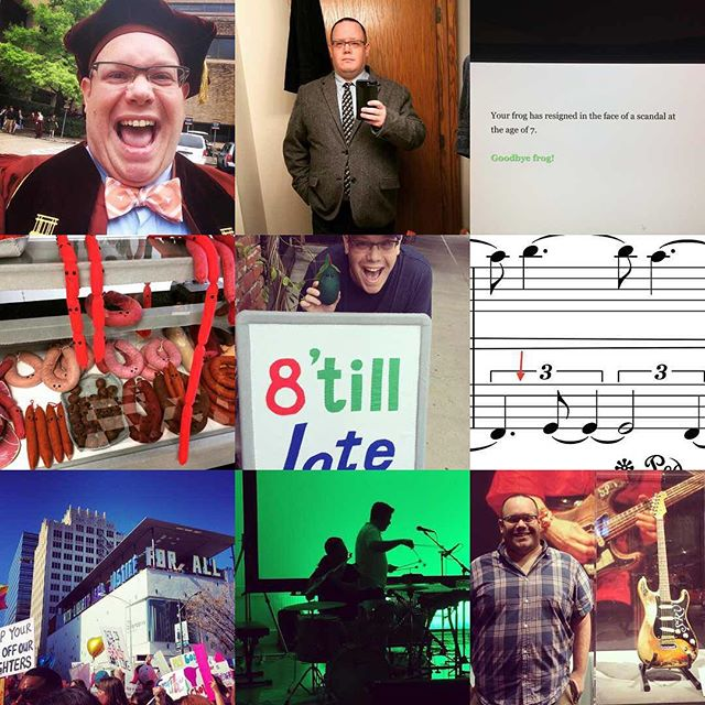 This... is a random assortment of pictures. But hey, there's the @ab_duo and Stevie Ray Vaughan's guitar, and the time I wrote two quarter notes as a triplet.