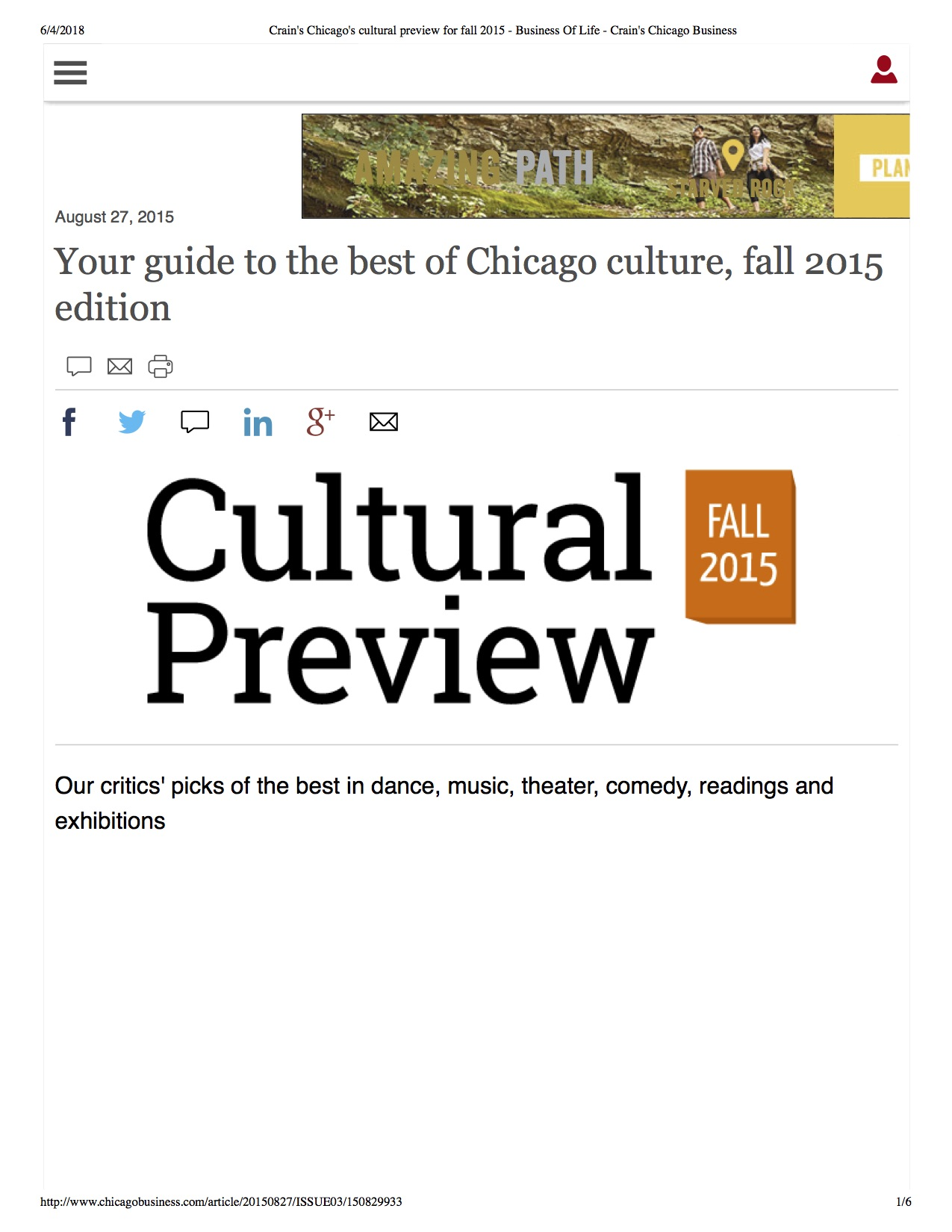 1. Crain's Chicago's cultural preview for fall 2015 - Business Of Life - Crain's Chicago Business.jpg