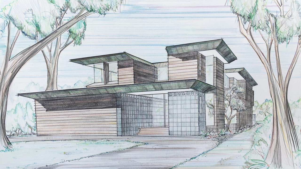 Hand Sketch of Residence by Architect Duncan Nicholson