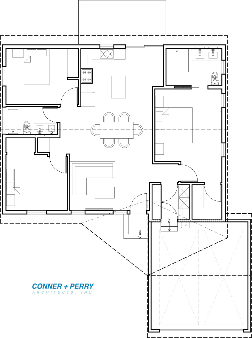 Floor plan for New 1200 sft ADU (3 bedroom, 2 bath) attached to existing garage.