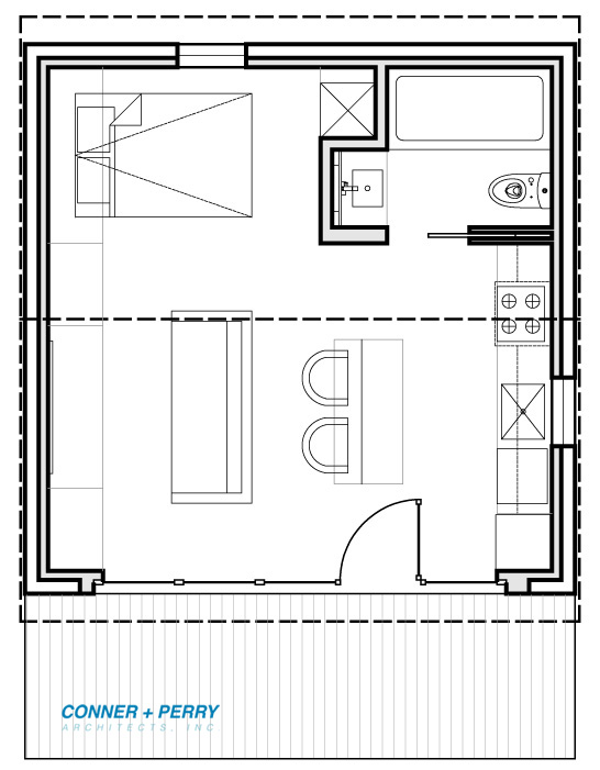 Floor plan for New 400 sft ADU (studio) conversion of an existing garage.